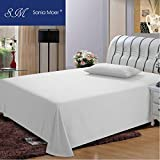 Sonia Moer Premium Polycotton 200 Thread Count Flat Sheet by, (King, White)