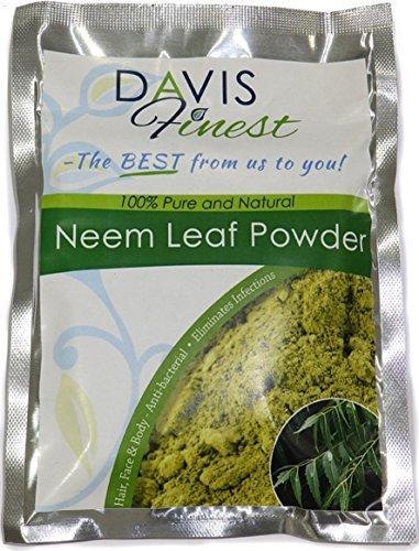 davis finest premium neem leaf polvere 100% puro e naturale asciutto che si sfalda prurito della pelle e cute sollievo trattamento antibatterico viso capelli corpo maschere e confezioni efficace - 100