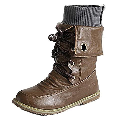 Minetom Femme Rétro Lacets Bottes Chelsea Courtes Punk Martin Boots Confortable Plates Chaussures Bout Rond Cheville Bottines De Moto Marron EU 35