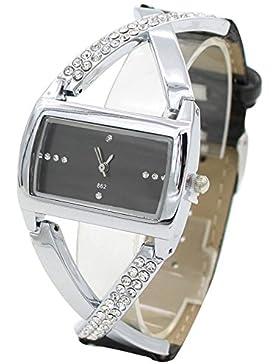 Moderne Damenuhr Analog Quarz Strass Uhr Armbanduhr Schwarz