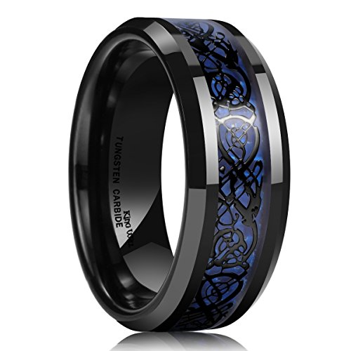 King will - anello nuziale a fascia da uomo, in carburo di tungsteno con effetto fibra di carbonio, motivo: dragone celtico, larghezza 8 mm, colore: blu e nero e tungsteno, 20,25, cod. oy-r254-9.5