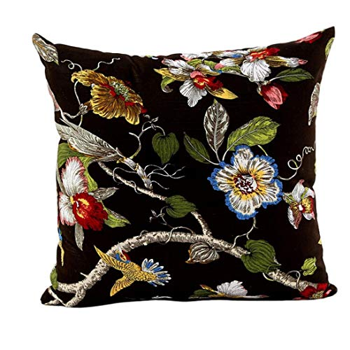 pillowcases Beautiful Bird Flowers Trees Gorgeous Spring Cotton Soft Throw Pillow Covers DecoCushion Slipcovers Square 18x18 Inch (Black) Throw Pillow Covers Cotton Soft Overalls