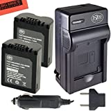 Pack of 2 CGA-S006 Batteries and Battery Charger for Panasonic Lumix DMC-FZ7 DMC-FZ8 DMC-FZ18 DMC-FZ28 DMC-FZ30 DMC-FZ35 DMC-FZ50 Digital Camera + More!!