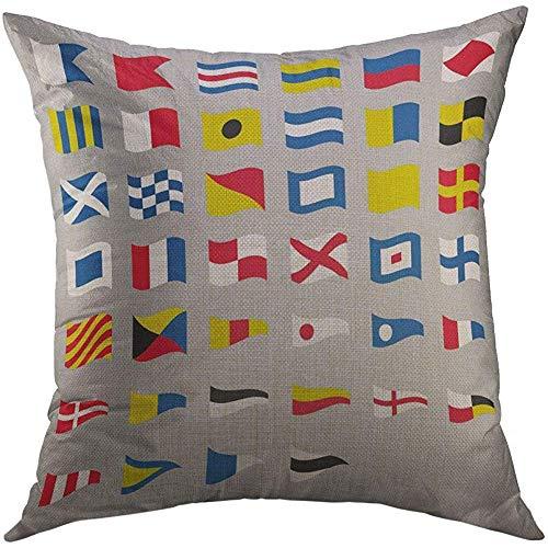 Fodera per cuscino decorativo copriletto copriletto marino marittimo internazionale segnale marittimo bandiere sventolanti nautiche codice grigio alfabeto decorazioni per la casa federa 45x45 cm