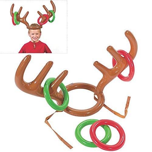 BUOCEANS Ringwurf Spiel, Aufblasbare Rentier Geweih Ring Toss Spiel mit Ringen für Weihnachten Weihnachts-Party Werfen Spiel