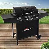 Broil-master BBQ Gasgrill | Edelstahl Deckel, Grillstation mit 4 Brenner | Grillfläche 64,5x35,5 cm | Farbe: Schwarz
