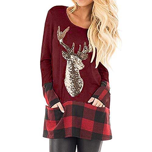 (SUCES Weihnachten Damen Bluse Frauen O-Ausschnitt Langarm Shirt Karierte Patchwork Pullover Schön Lange Ärmel Sweatshirt (Weinrot,S))