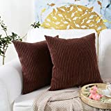 MERNETTE Pack of 2, Corduroy Velvet Soft Decorative Throw Pillow Cover Cushion Covers, Pillowcase Pillow Shams, for Sofa Bedroom Car Chair 18x18 Inch/45x45 cm (Striped Dark Brown)