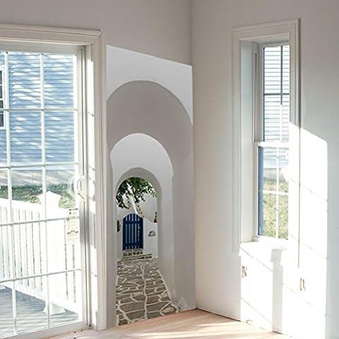 KKYLOVEJ Simulation Neuheit 3D Tür Aufkleber DIY Kombination Griechische Veranda Wasserdicht Wandgemälde Abnehmbar Wasserdicht Wandaufkleber Abziehbilder