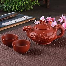 GENERIC 11 : Portable Kung Fu Tea Set Include 1 Pot 2 Cup Travel Teapot Kettle Coffee Cup Purple Clay Tea Pot Drinkware Tea Cups