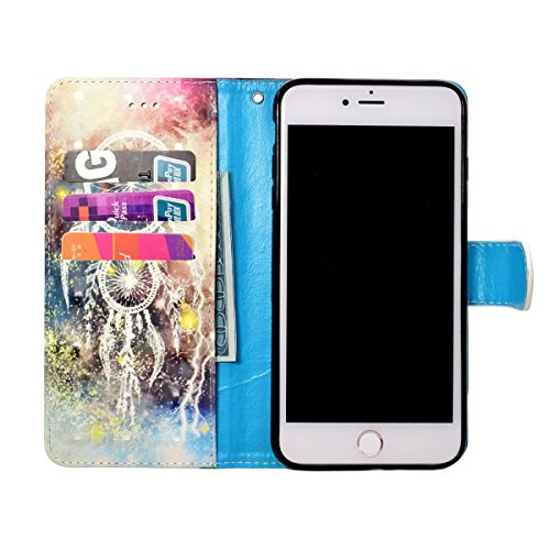 Ekakashop iphone 6S Custodia in Pelle, Cover Per iphone 6 Portafoglio, Fashion Lusso Colorate 3D Painted Ragazza Fantasia Libro Wallet PU Pelle Leather Morbido Silicone Inner Shell Disegno Magnete Clo Campanula