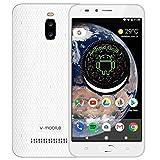 Smartphone Pas Cher v mobile A13 Android Go/8.1 (8GB+16GB ROM) téléphone Portable Pas Cher sans Forfait 5MP Caméra 5.5 Pouces WiFi GPS 3000mAh (Blanc)