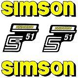Set: Aufkleber - Klebefolie SIMSON S51 ENDURO - GELB - für Tank und Seitendeckel + BISOMO® Sticker