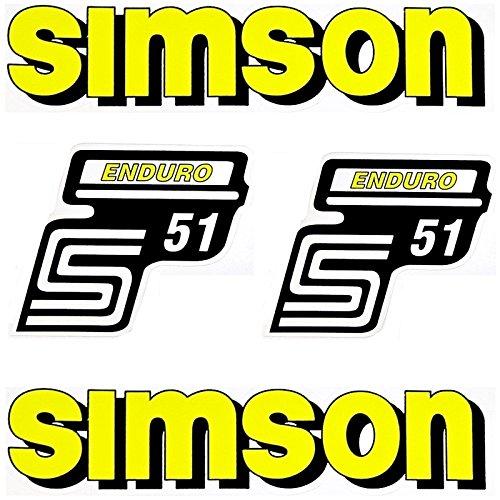 Set Aufkleber Klebefolie für Simson S51 Enduro Gelb für Tank und Seitendeckel