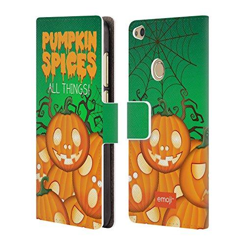 Head Case Designs Offizielle Emoji Kürbis Gewürze Halloween Parodien Brieftasche Handyhülle aus Leder für Huawei P8 Lite (2017)
