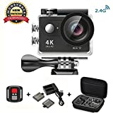 Daping 4K Action Cam Videocamera Full HD 1080P 12MP Sport ActionCamera Impermeabile 170° Grandangolare 2.0 Pollici due 1050mAh Batterie e Kit Accessori (2.4G Telecomando)