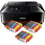 Canon Pixma MX925 MX-925 All-in-One Farbtintenstrahl-Multifunktionsgerät (Drucker, Scanner, Kopierer, Fax, USB, WLAN, LAN, Apple AirPrint) schwarz + 15er Set IC-Office XL Tintenpatronen 550XL 551XL