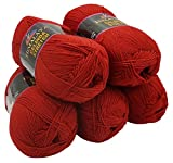 Celinda Stretch 5 x 100 Gramm Himalaya Wolle, 500 Gramm Strickgarn mit Elasthan (rot 212-08)