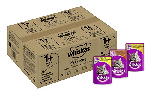 whiskas-katzenfutter-1-fur-erwachsene-katzen-saftige-geflugel-auswahl-in-sauce-84-portionsbeutel-84-