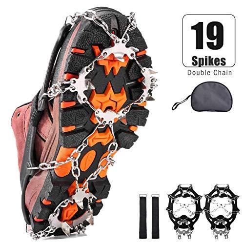 VIFLYKOO Ice Klampen Steigeisen, 19 Zähne Edelstahl Ice Cleats und langlebiges Silikon Fit Stiefel und Schuhe, Sicherer Schutz für Wandern Angeln Wandern Bergsteigen