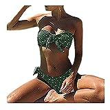 DAY.LIN Bikini Push up Bademode Bikinis Damen Frauen Sexy Dot Printed Bikini Set Push-up Gepolsterter Bow Bademode Badeanzug Beachwear Teilen Bikini Punkt Drucken Bademode (Grün, S)
