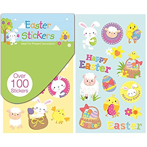 Easter presents for children amazon 100 happy easter stickers book bunny chick egg carrot craft school card present decoration child party bag filler negle Gallery