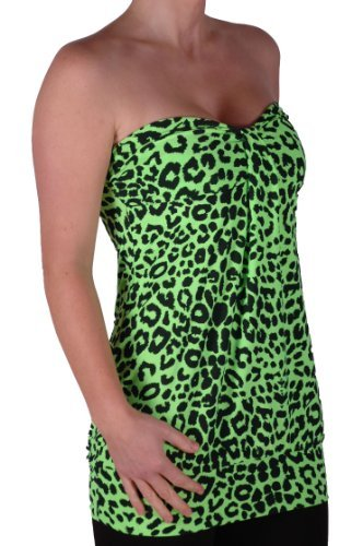 Eyecatch - Clara Damen Stretch Mode Neon Leopard Tragerloses Top Neon Green M/L (Neon Green Leopard)