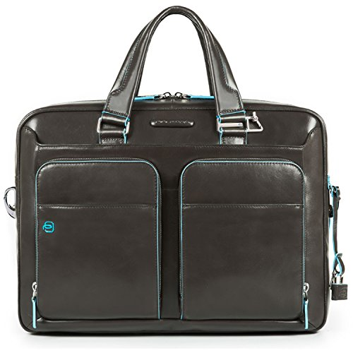 Piquadro Blue Square Kurzgrifflaptoptasche mit iPad/iPad Air-Fach 39 cm Grigio Scuro