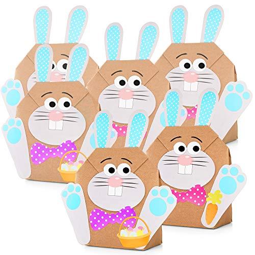 THE TWIDDLERS 12 DIY Osterhasen Tüten Bastelset zu Ostern - Osterbasteln mit Kinder & Papier - Oster Party Geschenk tüten zum selber Befüllen, Bastelbedarf & das ideale Ostergeschenk