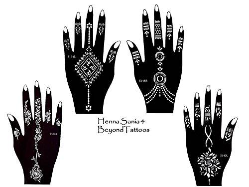 Tattoo Stencil Template 4pezzi set Henna Designs per le mani per uso singolo Sania 4
