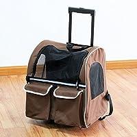 casa Monopoli Pet Bag Trolley / animale doppia cassa del carrello / animale Go Out Zaino Doggy Portable - Brown
