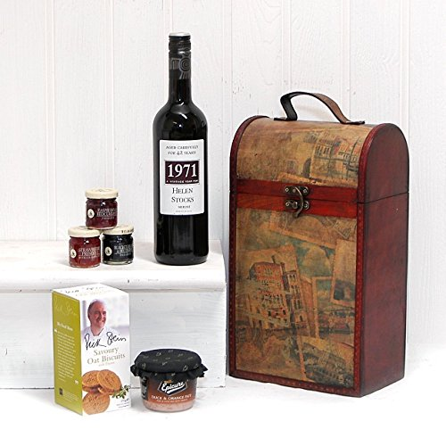 Clarendon Vintage Wooden Wine Chest Food Hamper with 750ml Personalised Premium Fine Red Wine - Gift Ideas for Birthday, Valentines, Mothers Day, Wedding, Anniversary, Business and Corporate