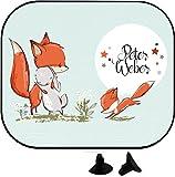 wolga-kreativ Hase und Fuchs mit Name Auto SonnenSchutz und SonnenBlende für Baby und Kind personalisiert Wunschname (1 Stück)