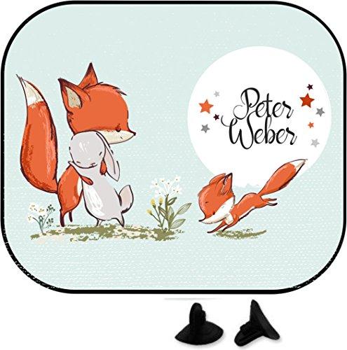 wolga-kreativ Hase und Fuchs mit Name Auto SonnenSchutz und SonnenBlende für Baby und Kind personalisiert Wunschname (Doppelpack)