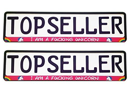 2 x Kennzeichenhalter Nummernschildhalter Einhorn Pink Unicorn Stern Regenbogen