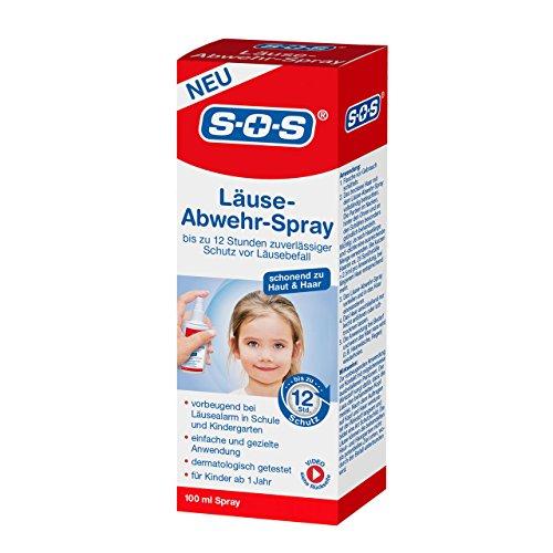 SOS Läuse-Abwehr-Spray, vorbeugendes Spray zur Abwehr von Kopfläusen, bis zu 12 Stunden zuverlässiger Schutz vor Läusebefall, dermatologisch getestet und für Kinder ab 1 Jahr geeignet, 1x100ml Spray
