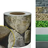 Sichtschutzstreifen PVC | Sichtschutzfolie für den Gartenzaun oder Balkon | inkl. 20 Befestigungsclips | für Einzel- und Doppelstabmatten geeignet | 19 cm x 35 m | einfarbig oder mit Motiv | Sandstein-Optik