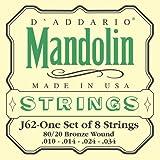 D\'Addario Cordes en bronze 80/20 pour mandoline D\'Addario J62, Light, 10-34