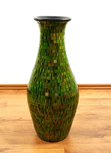 Beautiful Green Terracotta Floor Vase with Glass Mosaic, Handcrafted Balinese Home Decor