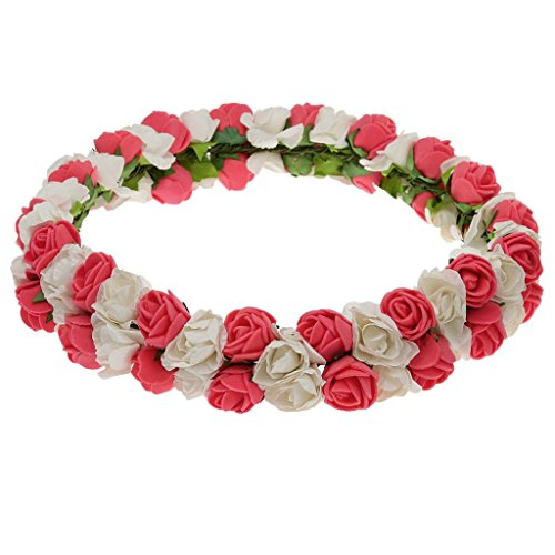 MagiDeal Fleur Couronne Bandeau de Cheveux pour Mariée Style Boho Rouge