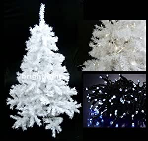 WHITE ARTIFICIAL CHRISTMAS TREE 6FT / 180CM + 10 METRE 100 LED FAIRY TWINKLE LIGHTS IN COOL WHITE ** HIGH QUALITY XMAS TREE PACKAGE - IDEAL FOR CHRISTMAS DECORATIONS, XMAS LIGHTS, ETC **