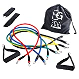 BOGI 11 Pcs Resistance Band Set - 5 Exercise Bands, 2 Foam Handle, 2 Ankle Straps ,Door Anchor, and Carry Bag Gift - Perfect For Resistance Training / Physical Therapy / Gyms Fitness Yoga