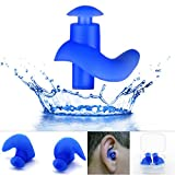 EROSPA® Silikon Ohrstöpsel Schwimmen Tauchen Schnorcheln Erwachsene Kinder Ear Plug blau schwarz 1 Paar inclusive Aufbewahrungsbox (Blau)