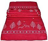 matrasa Tischläufer Deer Love 40 x 180 cm - weihnachtliche Tischdecke mit Rentier Motiv rot