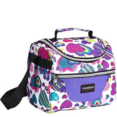 Kinder Lunch Isoliertasche KühlTasche Mittagessen Thermotasche für Mädchen Damen Faltbare Kühlkorb Kühlbox Wasserdicht Picknick-Tasche und verstellbarer Schultergurt