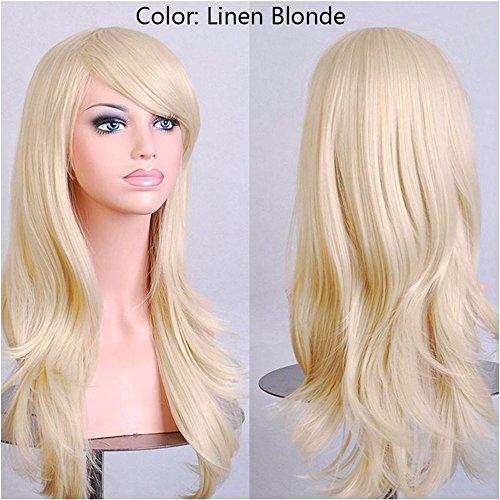 23 Zoll Frauen Cosplay Perücke Halloween lange Curly synthetischen Perücken Haar, Platin Blond, 24 (Perücken Platin)