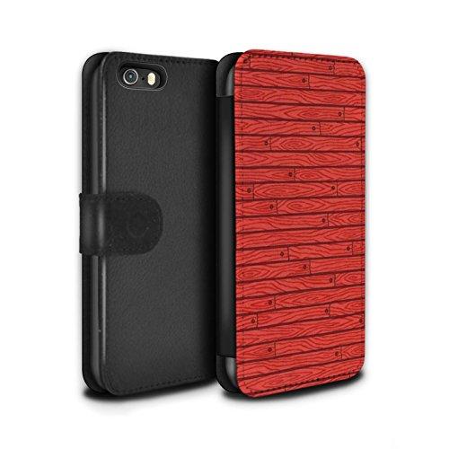 Stuff4 Coque/Etui/Housse Cuir PU Case/Cover pour Apple iPhone SE / Turquoise Design / Motif Bois Collection Rouge