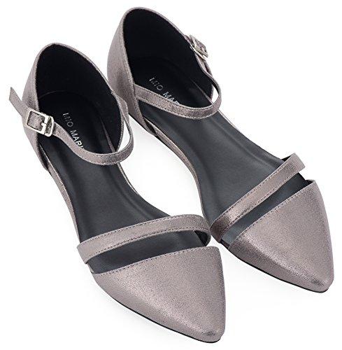 Mio Marino D'Orsay Pointed Toe Flats - Damen-Kleiderschuhe - Schnellverschluss, (Mink Gray Metallic), 40 M EU Metallic Dorsay Pump
