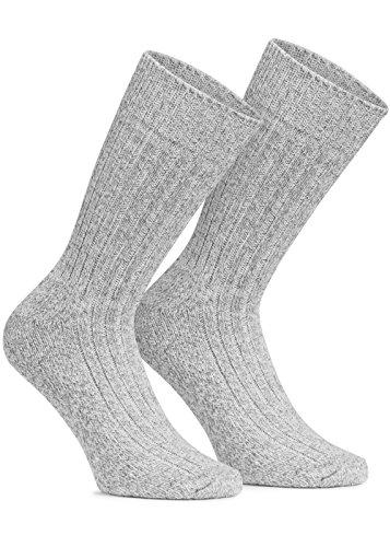 6 Paar Norweger Socken mit Wolle in Grau oder Anthrazit mit weich gepolsterter Plüschsohle Wintersocken Herrensocken mit Polstersohle (43/46, Hellgrau)