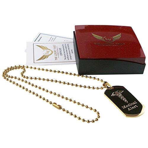 Militär Des Herzens (Medical Alert Gold Armee ID Dog Tag Armee Stil Militär Halskette Kugelkette Diabetiker Herz Blut Gruppe SOS)